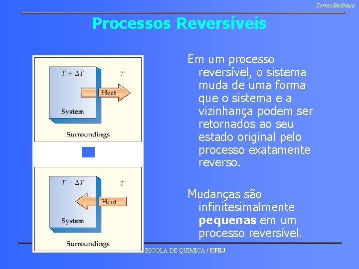 Termodinâmica Processos Reversíveis Em um processo reversível, o sistema muda de uma forma que