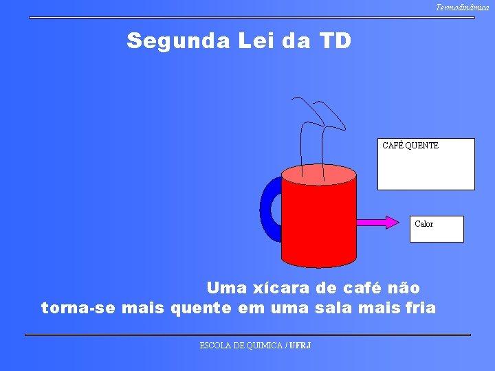 Termodinâmica Segunda Lei da TD CAFÉ QUENTE Calor Uma xícara de café não torna-se