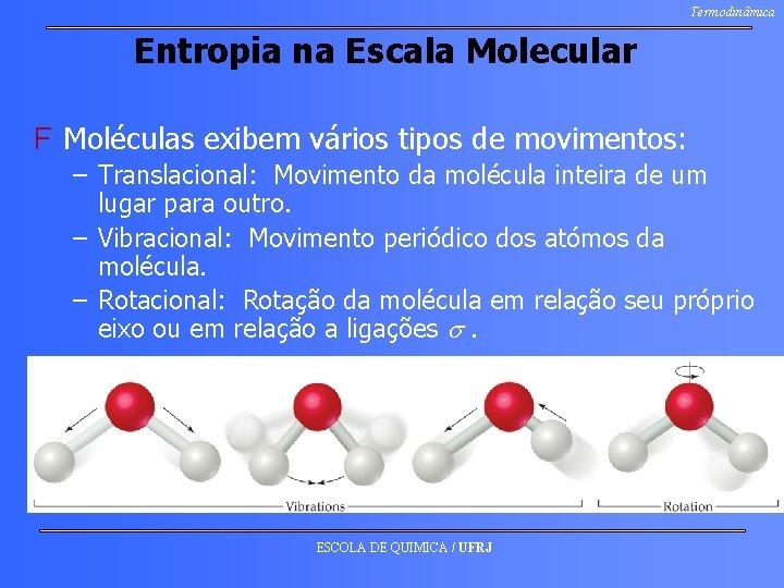 Termodinâmica Entropia na Escala Molecular F Moléculas exibem vários tipos de movimentos: – Translacional: