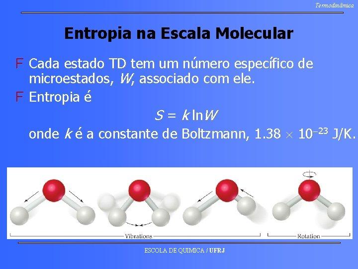 Termodinâmica Entropia na Escala Molecular F Cada estado TD tem um número específico de