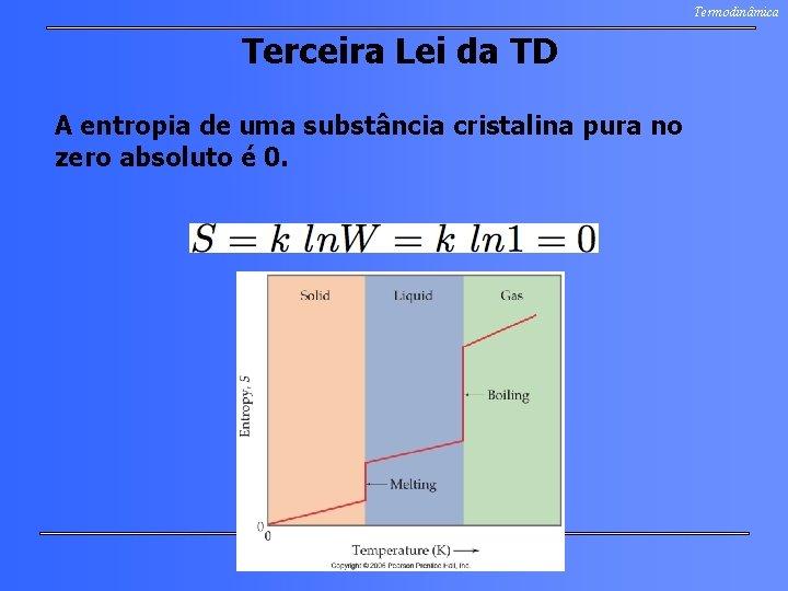 Termodinâmica Terceira Lei da TD A entropia de uma substância cristalina pura no zero