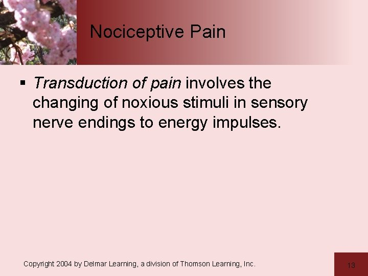 Nociceptive Pain § Transduction of pain involves the changing of noxious stimuli in sensory