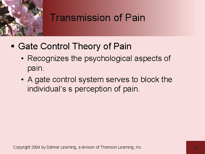 Transmission of Pain § Gate Control Theory of Pain • Recognizes the psychological aspects