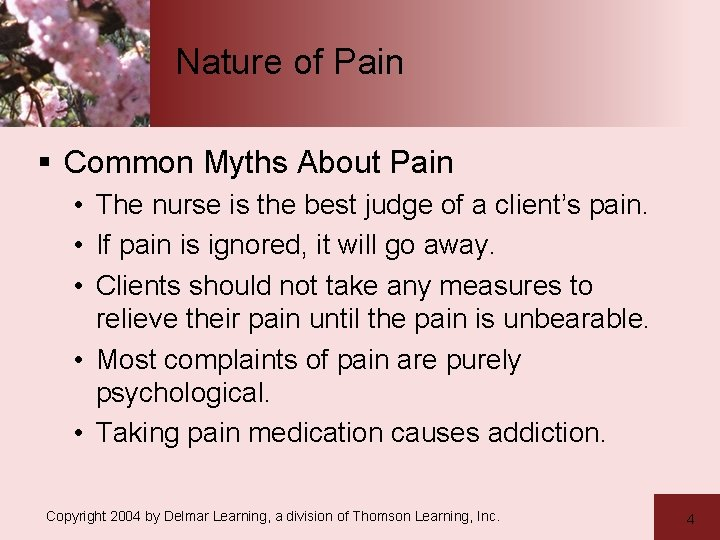 Nature of Pain § Common Myths About Pain • The nurse is the best