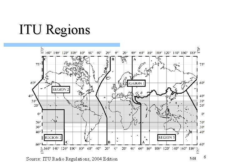 ITU Regions Source: ITU Radio Regulations, 2004 Edition 6