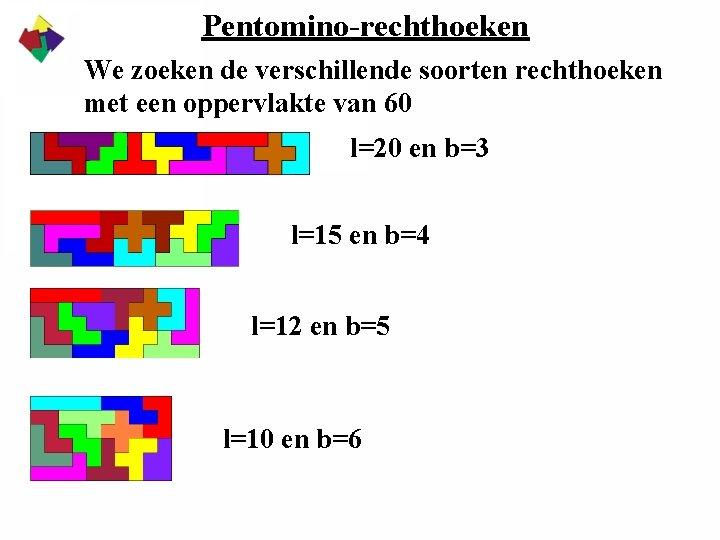 Pentomino-rechthoeken We zoeken de verschillende soorten rechthoeken met een oppervlakte van 60 l=20 en