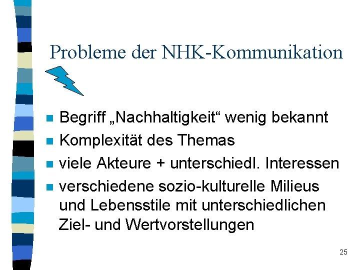 """Probleme der NHK-Kommunikation n n Begriff """"Nachhaltigkeit"""" wenig bekannt Komplexität des Themas viele Akteure"""