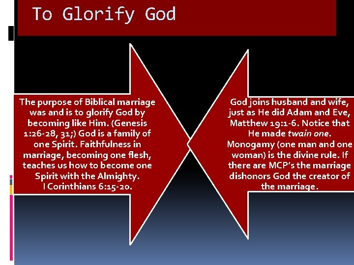 To Glorify God The purpose of Biblical marriage was and is to glorify God