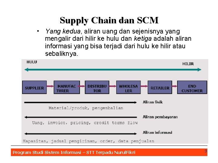 Supply Chain dan SCM • Yang kedua, aliran uang dan sejenisnya yang mengalir dari