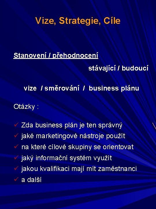 Vize, Strategie, Cíle Stanovení / přehodnocení stávající / budoucí vize / směrování / business