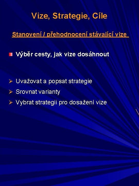Vize, Strategie, Cíle Stanovení / přehodnocení stávající vize Výběr cesty, jak vize dosáhnout Ø