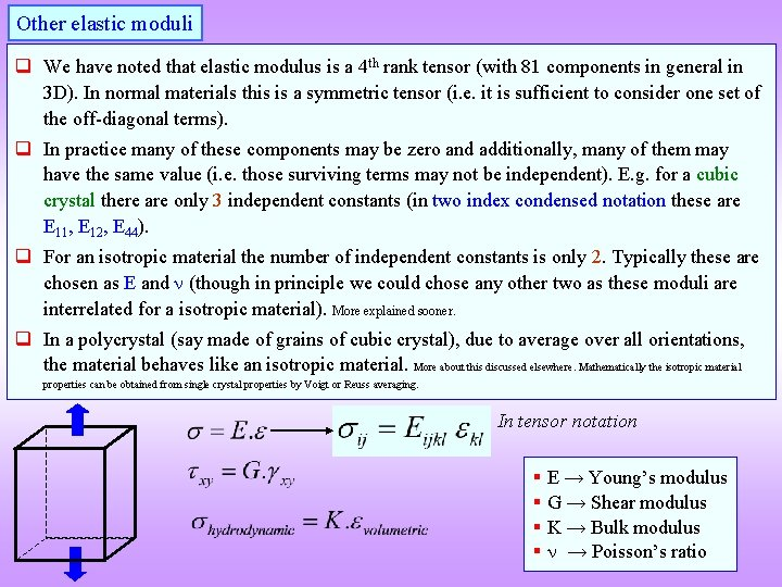 Other elastic moduli q We have noted that elastic modulus is a 4 th