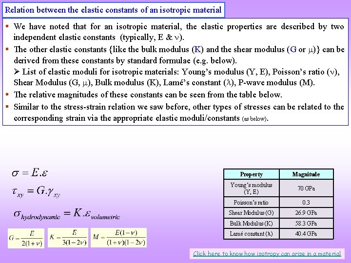 Relation between the elastic constants of an isotropic material § We have noted that