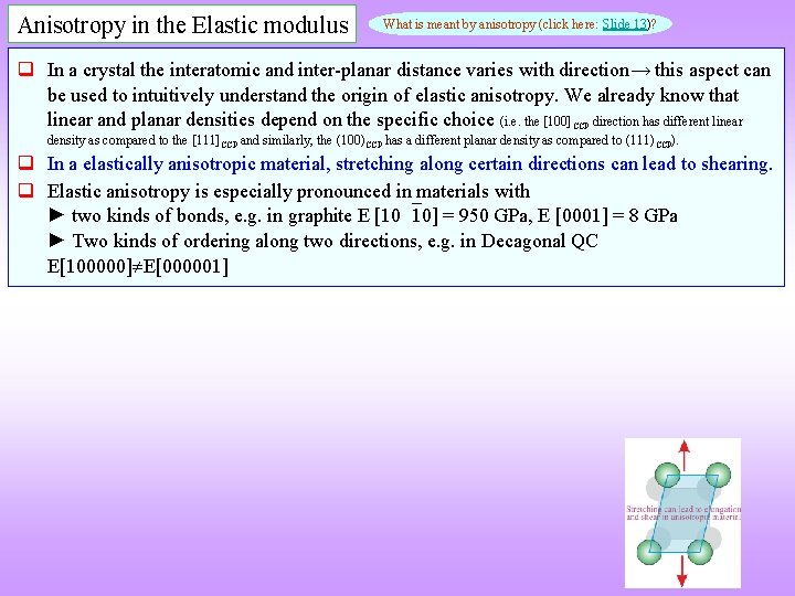 Anisotropy in the Elastic modulus What is meant by anisotropy (click here: Slide 13)?