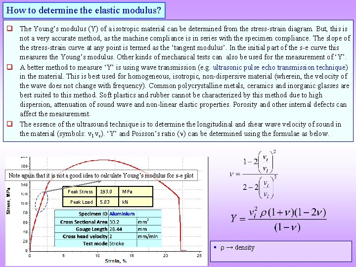 How to determine the elastic modulus? q The Young's modulus (Y) of a isotropic