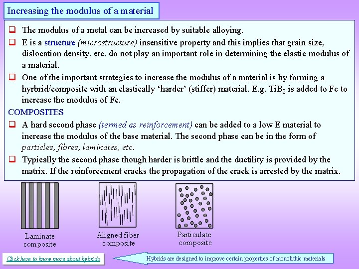 Increasing the modulus of a material q The modulus of a metal can be