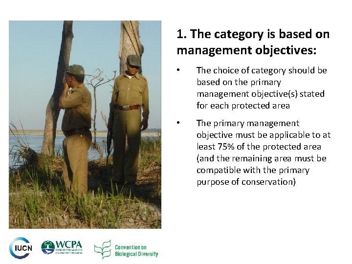 1. The category is based on management objectives: 6 • The choice of category