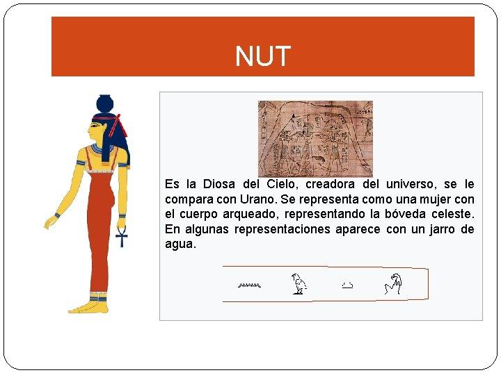 NUT Es la Diosa del Cielo, creadora del universo, se le compara con Urano.