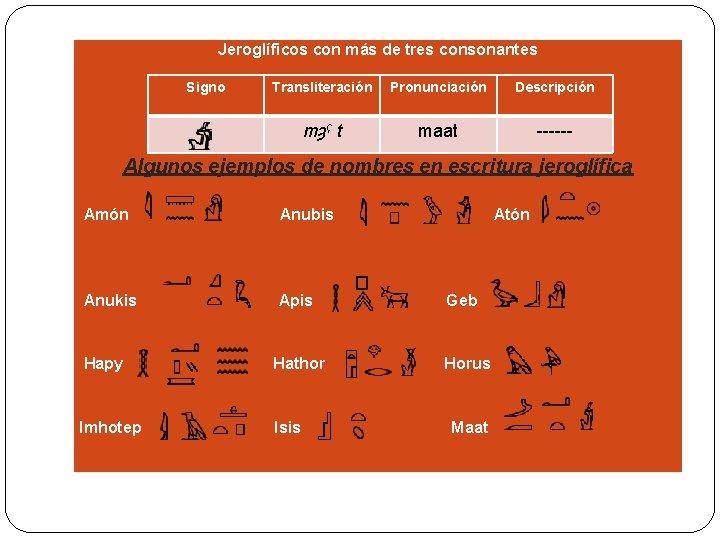 Jeroglíficos con más de tres consonantes Signo Transliteración Pronunciación Descripción mȝˁ t maat ------