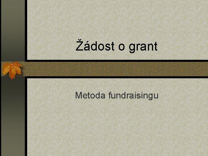 Žádost o grant Metoda fundraisingu