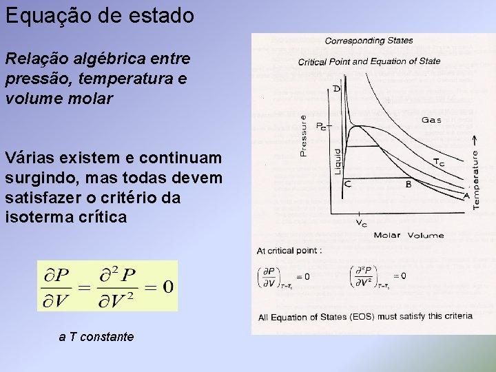 Equação de estado Relação algébrica entre pressão, temperatura e volume molar Várias existem e