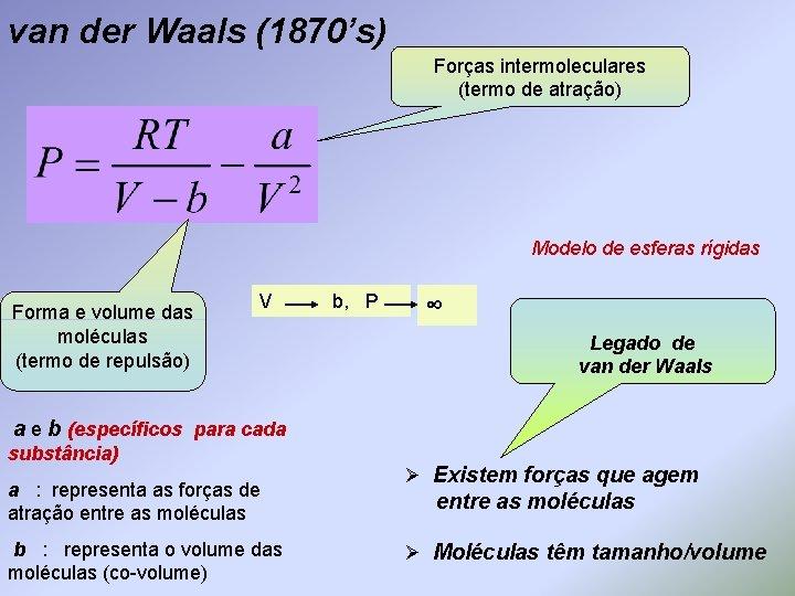 van der Waals (1870's) Forças intermoleculares (termo de atração) Modelo de esferas rígidas Forma