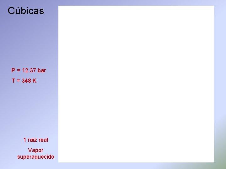Cúbicas P = 12. 37 bar T = 348 K 1 raiz real Vapor