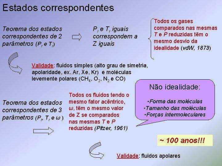 Estados correspondentes Teorema dos estados correspondentes de 2 parâmetros (Pr e Tr) Todos os
