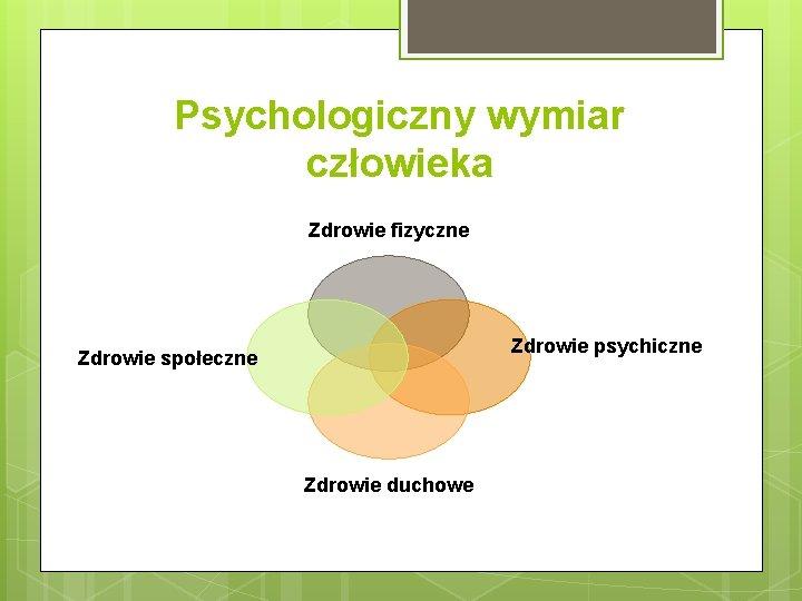 Psychologiczny wymiar człowieka Zdrowie fizyczne Zdrowie psychiczne Zdrowie społeczne Zdrowie duchowe
