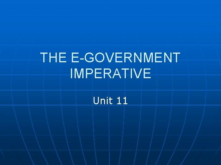 THE E-GOVERNMENT IMPERATIVE Unit 11
