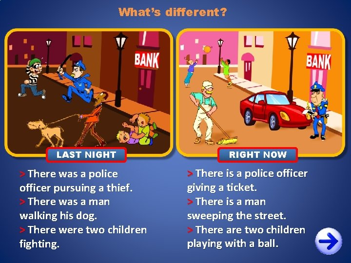 What's different? LAST NIGHT > There was a police officer pursuing a thief. >