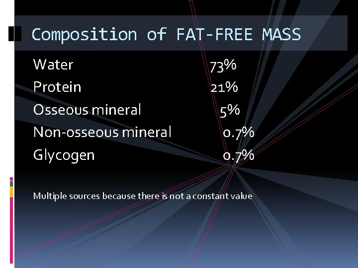 Composition of FAT-FREE MASS Water Protein Osseous mineral Non-osseous mineral Glycogen 73% 21% 5%