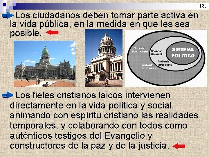 13. n Los ciudadanos deben tomar parte activa en la vida pública, en la