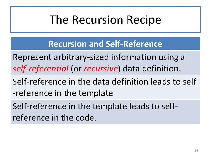 The Recursion Recipe Recursion and Self-Reference Represent arbitrary-sized information using a self-referential (or recursive)