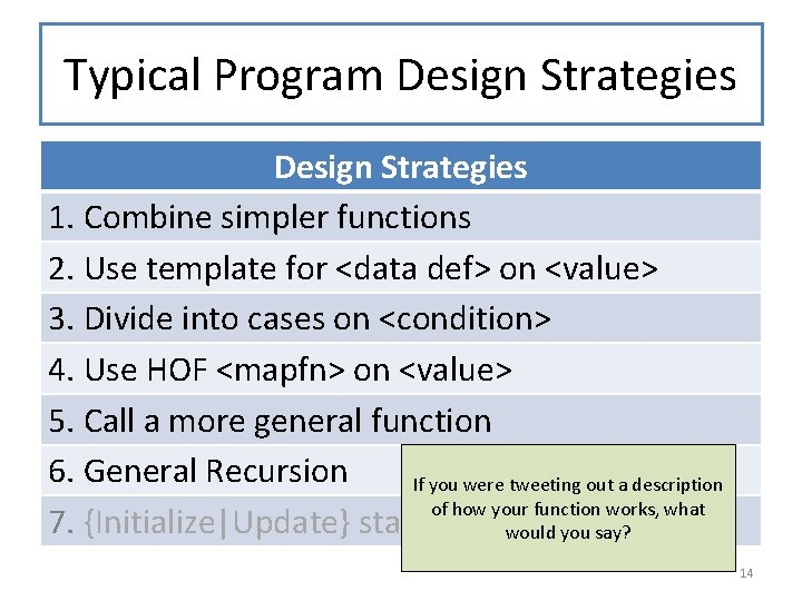 Typical Program Design Strategies 1. Combine simpler functions 2. Use template for <data def>