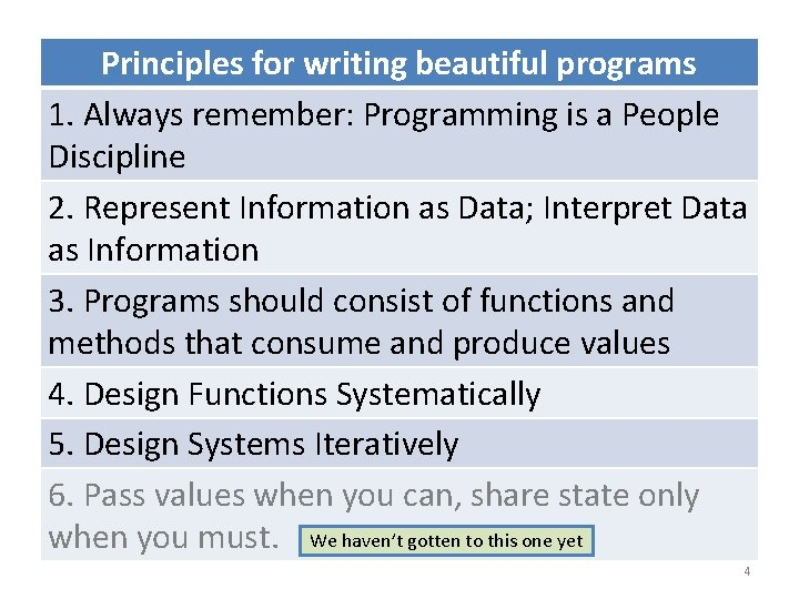 Principles for writing beautiful programs 1. Always remember: Programming is a People Discipline 2.