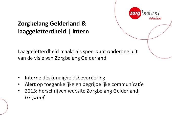 Zorgbelang Gelderland & laaggeletterdheid | Intern Laaggeletterdheid maakt als speerpunt onderdeel uit van de
