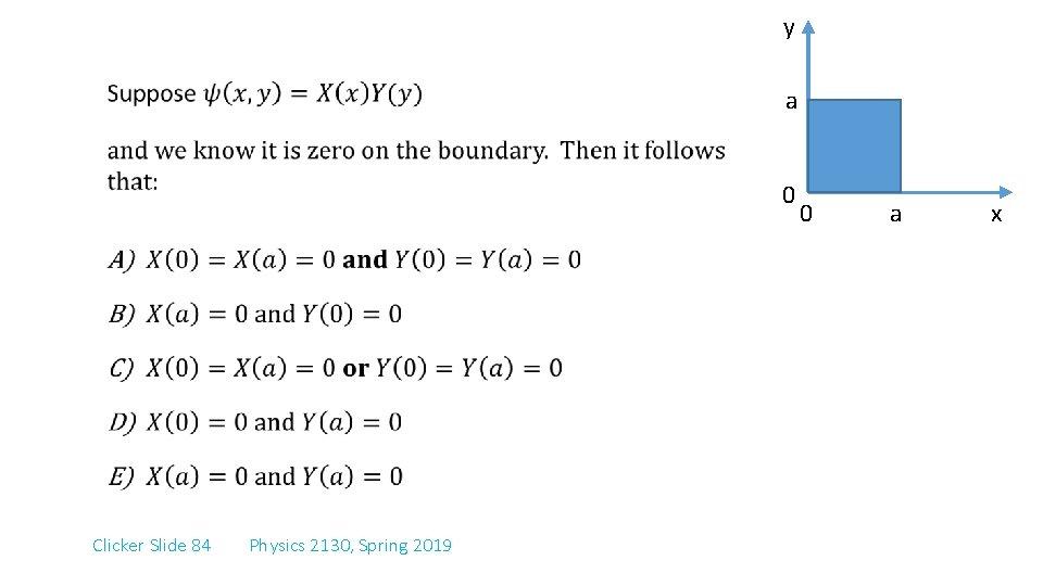 y a 0 Clicker Slide 84 Physics 2130, Spring 2019 0 a x