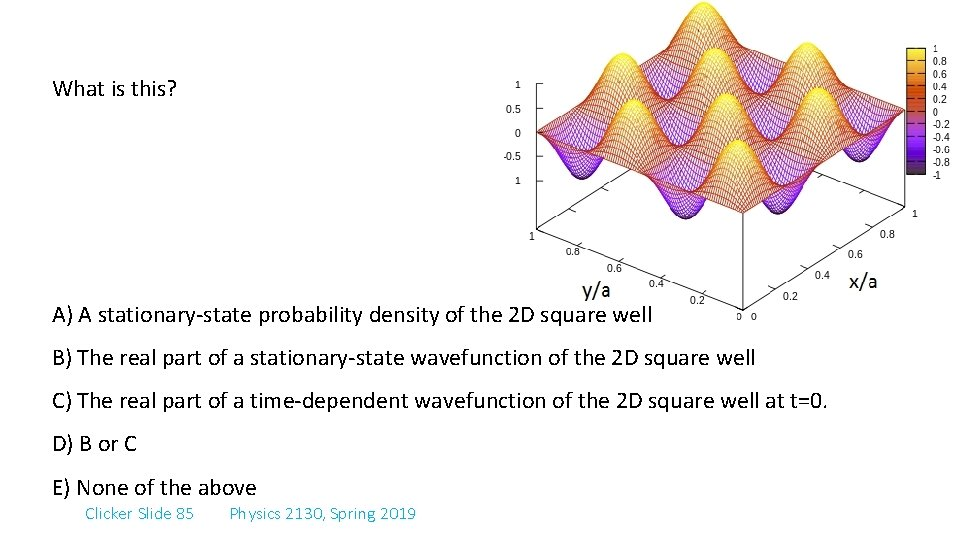 What is this? A) A stationary-state probability density of the 2 D square well