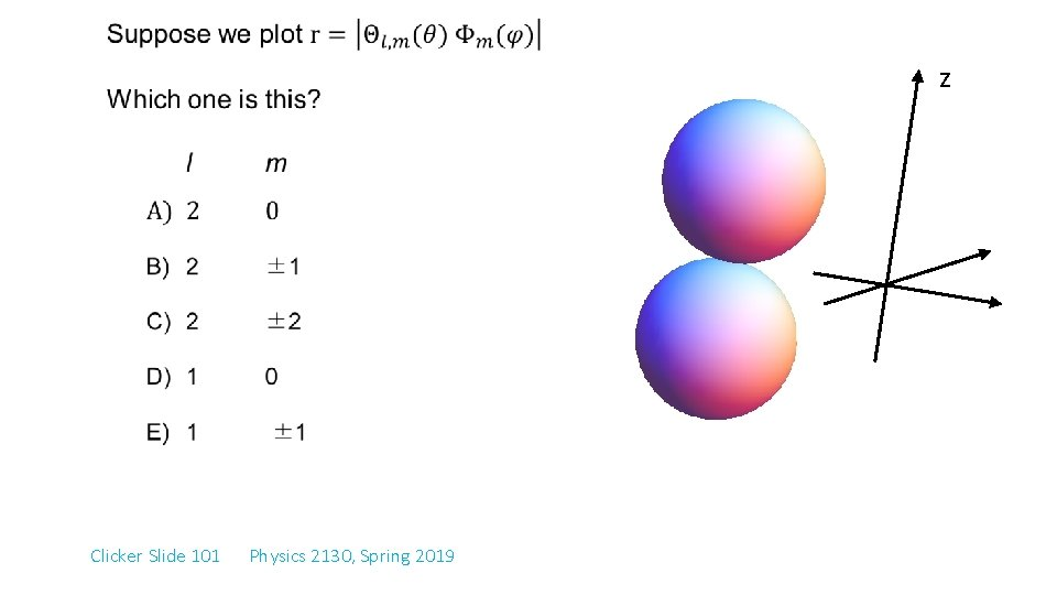 z Clicker Slide 101 Physics 2130, Spring 2019