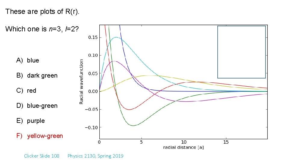 These are plots of R(r). Which one is n=3, l=2? A) blue B) dark