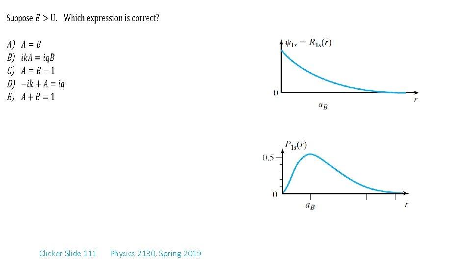 Clicker Slide 111 Physics 2130, Spring 2019