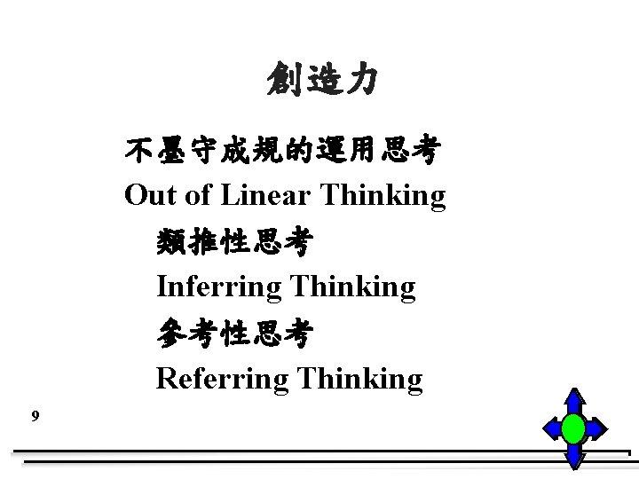 創造力 不墨守成規的運用思考 Out of Linear Thinking 類推性思考 Inferring Thinking 參考性思考 Referring Thinking 9