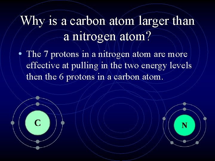 Why is a carbon atom larger than a nitrogen atom? • The 7 protons