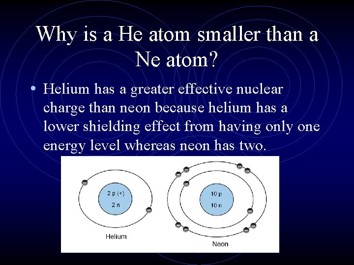 Why is a He atom smaller than a Ne atom? • Helium has a