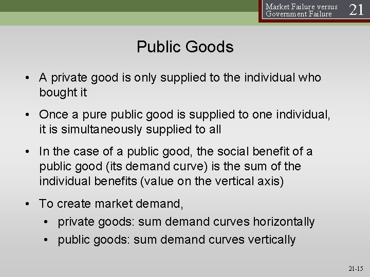 Market Failure versus Government Failure 21 Public Goods • A private good is only