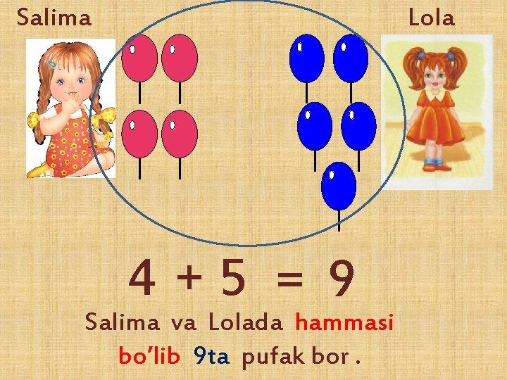 Salima Lola 4+5 = 9 Salima va Lolada hammasi bo'lib 9 ta pufak bor.