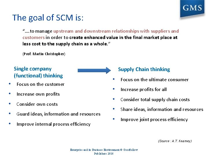 """The goal of SCM is: """"…. to manage upstream and downstream relationships with suppliers"""