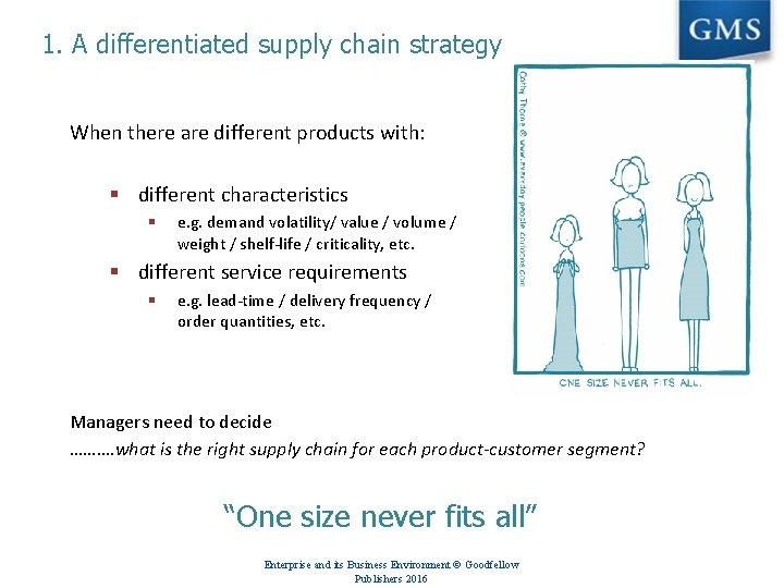 1. A differentiated supply chain strategy When there are different products with: § different
