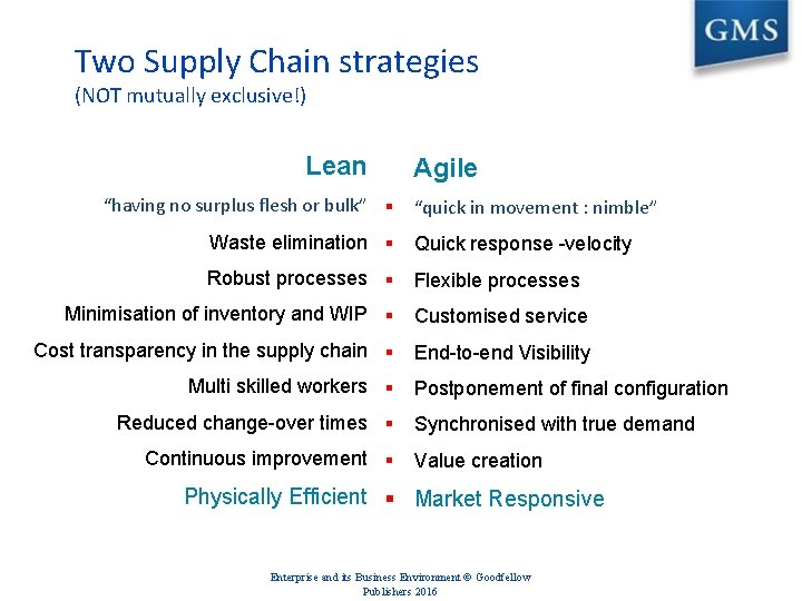 """Two Supply Chain strategies (NOT mutually exclusive!) Lean """"having no surplus flesh or bulk"""""""